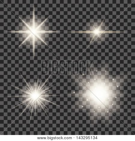 Set of four yellow, glowing flare lights.