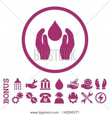 Water Care glyph icon. Image style is a flat pictogram symbol inside a circle, purple color, white background. Bonus images are included.