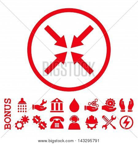 Center Arrows glyph icon. Image style is a flat pictogram symbol inside a circle, red color, white background. Bonus images are included.