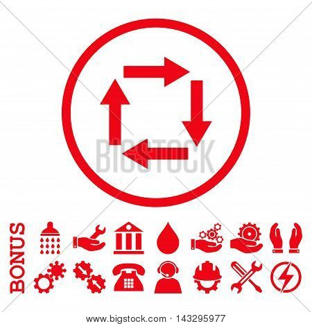 Circulation Arrows glyph icon. Image style is a flat pictogram symbol inside a circle, red color, white background. Bonus images are included.