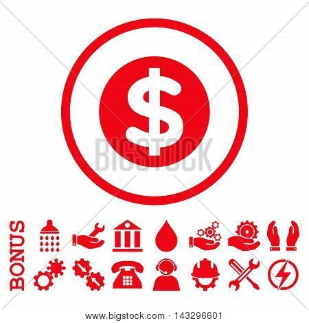 Finance glyph icon. Image style is a flat pictogram symbol inside a circle, red color, white background. Bonus images are included.