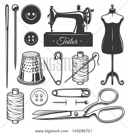 Set of vintage monochrome tailor tools. Designer toolkit. Perfect for logo, label, emblems and other signs