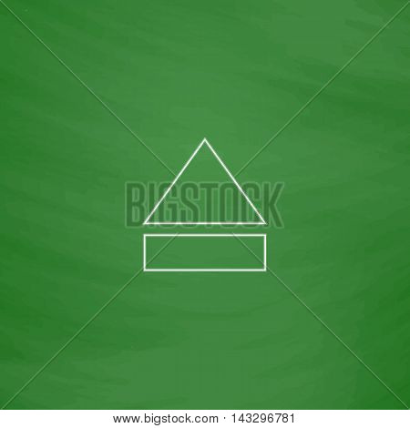 Eject Outline vector icon. Imitation draw with white chalk on green chalkboard. Flat Pictogram and School board background. Illustration symbol