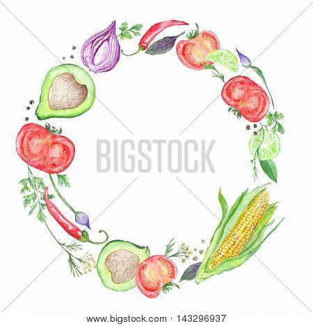 Circle vegetarian frame made of tomatoes, chilly, onion, avocado and parsley for menu, kitchen print design