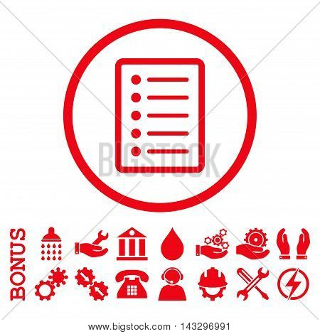 List Page glyph icon. Image style is a flat pictogram symbol inside a circle, red color, white background. Bonus images are included.