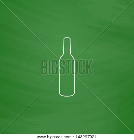 alcohol bottle Outline vector icon. Imitation draw with white chalk on green chalkboard. Flat Pictogram and School board background. Illustration symbol
