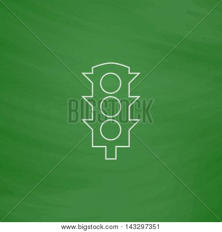 Traffic lights Outline vector icon. Imitation draw with white chalk on green chalkboard. Flat Pictogram and School board background. Illustration symbol