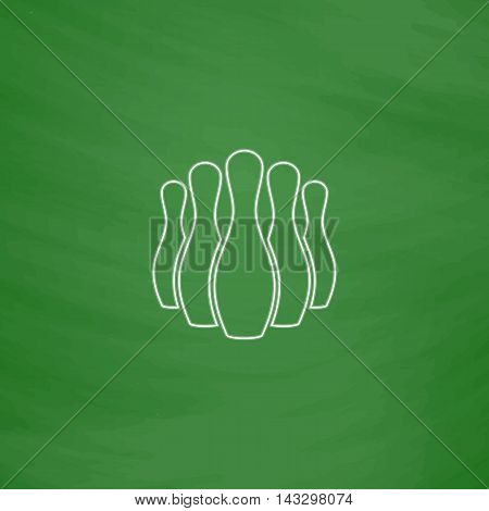 Ninepins Outline vector icon. Imitation draw with white chalk on green chalkboard. Flat Pictogram and School board background. Illustration symbol