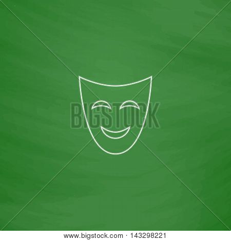 comedy mask Outline vector icon. Imitation draw with white chalk on green chalkboard. Flat Pictogram and School board background. Illustration symbol