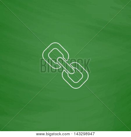 Link Outline vector icon. Imitation draw with white chalk on green chalkboard. Flat Pictogram and School board background. Illustration symbol