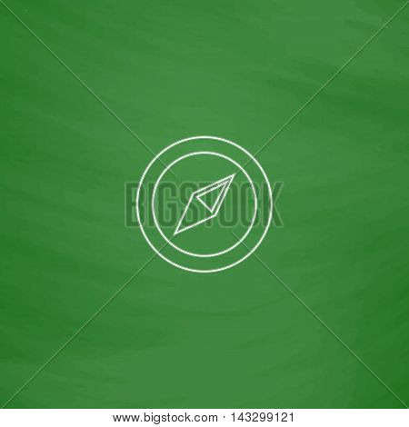 Compass Outline vector icon. Imitation draw with white chalk on green chalkboard. Flat Pictogram and School board background. Illustration symbol