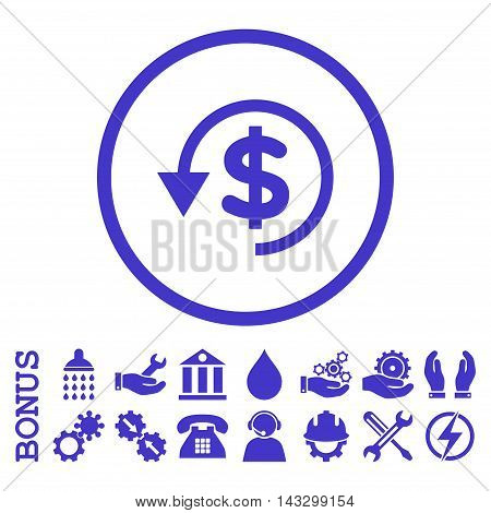 Chargeback glyph icon. Image style is a flat pictogram symbol inside a circle, violet color, white background. Bonus images are included.