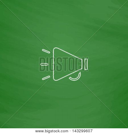 loudspeaker Outline vector icon. Imitation draw with white chalk on green chalkboard. Flat Pictogram and School board background. Illustration symbol