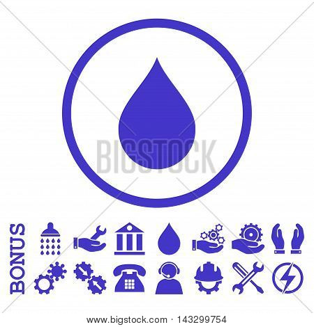 Drop glyph icon. Image style is a flat pictogram symbol inside a circle, violet color, white background. Bonus images are included.