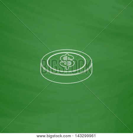 Casino chip Outline vector icon. Imitation draw with white chalk on green chalkboard. Flat Pictogram and School board background. Illustration symbol