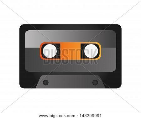 flat design audio cassette icon vector illustration