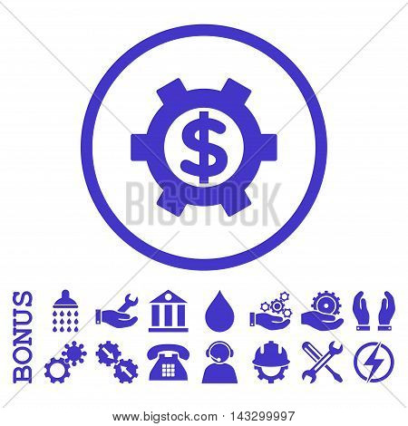 Financial Settings glyph icon. Image style is a flat pictogram symbol inside a circle, violet color, white background. Bonus images are included.