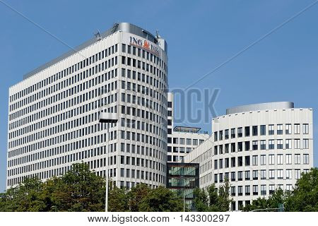 FRANKFURT AM MAIN GERMANY - AUGUST 7 2015: ING-DiBa AG headquarters in Frankfurt a direct bank and a subsidiary of the Dutch ING Groep which operates internationally.