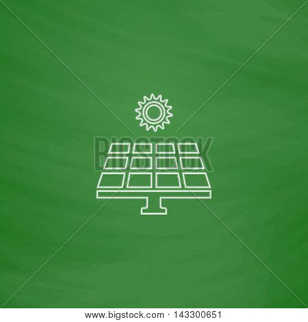 Solar energy Outline vector icon. Imitation draw with white chalk on green chalkboard. Flat Pictogram and School board background. Illustration symbol