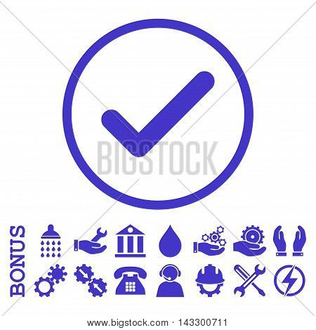 Ok glyph icon. Image style is a flat pictogram symbol inside a circle, violet color, white background. Bonus images are included.