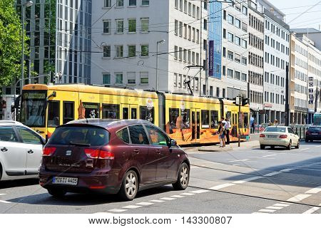 FRANKFURT AM MAIN GERMANY - AUGUST 7 2015: Dusseldorfer street busy with traffic. It si a central street leading to Deutsche Bahn railway central station (Hauptbahnhof).