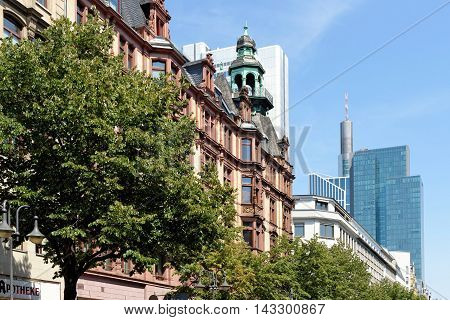 Contrast between contemporary and old building in Frankfurt am Main Germany. Frankfurt is the largest financial centre in continental Europe.