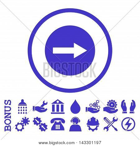 Right Rounded Arrow glyph icon. Image style is a flat pictogram symbol inside a circle, violet color, white background. Bonus images are included.