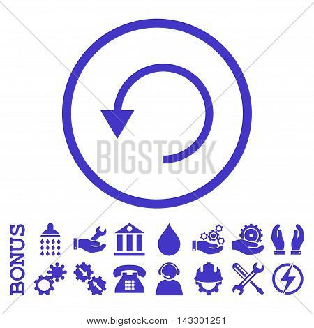 Rotate Ccw glyph icon. Image style is a flat pictogram symbol inside a circle, violet color, white background. Bonus images are included.