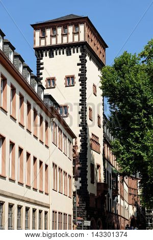 The tower of the south wing of the Old Town Hall on Limpurgergasse street in Frankfurt am Main Germany. The entire building complex consists of nine houses encircling six courtyards.