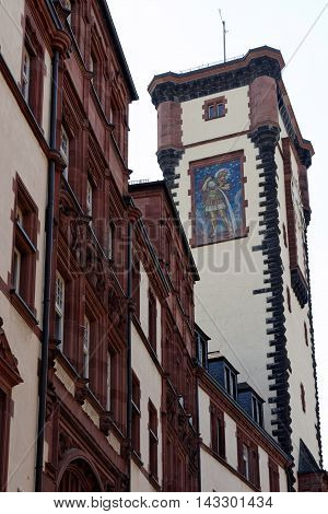 The south wing of the Old Town Hall on Braubachstrasse street in Frankfurt am Main Germany. The entire building complex consists of nine houses encircling six courtyards.