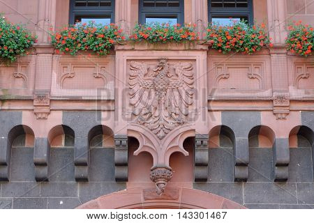 Detail of the south wing of the Old Town Hall on Braubachstrasse street in Frankfurt am Main Germany. The entire building complex consists of nine houses encircling six courtyards.