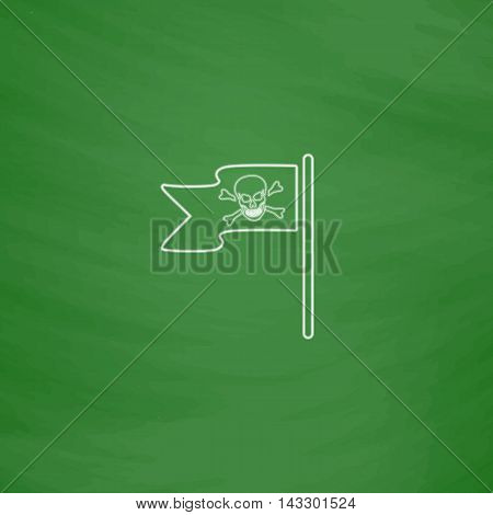 Jolly Roger Outline vector icon. Imitation draw with white chalk on green chalkboard. Flat Pictogram and School board background. Illustration symbol