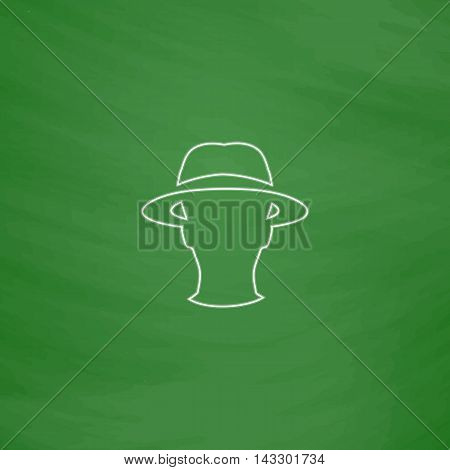 agent Outline vector icon. Imitation draw with white chalk on green chalkboard. Flat Pictogram and School board background. Illustration symbol