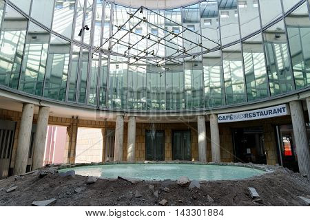 FRANKFURT AM MAIN GERMANY - AUGUST 7 2015: Art installation in the Schirn Kunsthalle in the old town one of the most famous exhibition venues in Europe.