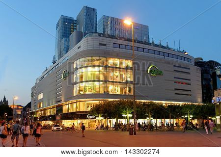 FRANKFURT AM MAIN GERMANY - AUGUST 7 2015: Galeria Kaufhof one of Europe's leading department stores on Zeil. Zeil is one of the most famous and busiest shopping streets in Germany.