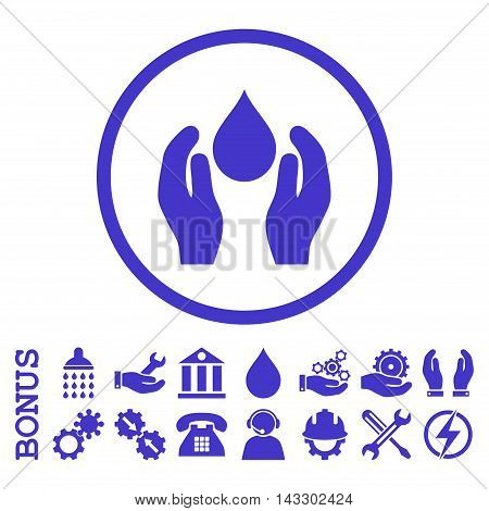 Water Care glyph icon. Image style is a flat pictogram symbol inside a circle, violet color, white background. Bonus images are included.