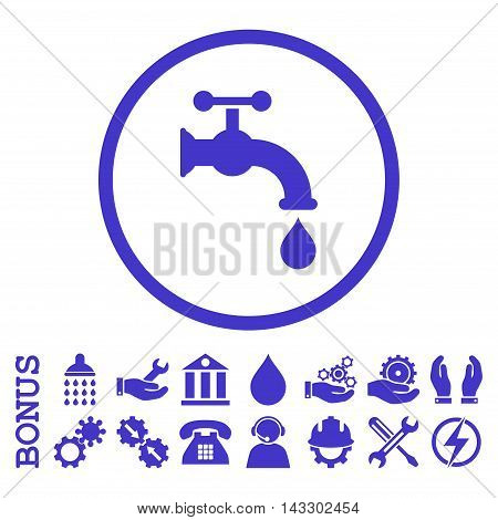 Water Tap glyph icon. Image style is a flat pictogram symbol inside a circle, violet color, white background. Bonus images are included.