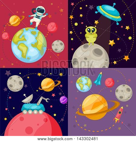 Four square space icon set on four different cosmic themes with ufo rover robot rocket and astronauts vector illustration