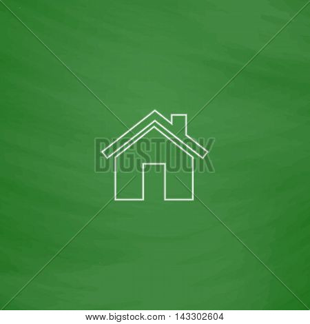 Real Estate Outline vector icon. Imitation draw with white chalk on green chalkboard. Flat Pictogram and School board background. Illustration symbol