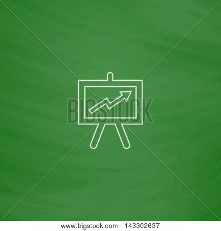 billboard Outline vector icon. Imitation draw with white chalk on green chalkboard. Flat Pictogram and School board background. Illustration symbol