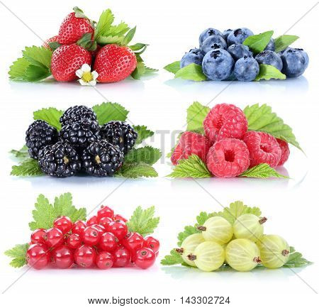 Berries Strawberries Collection Blueberries Red Currant Berry Fruits Isolated On White