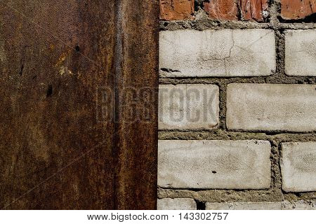 Brickwork, brick, pattern of old brick surfaced, rough brick wall, brickwall, brick house, white bricks, white brickwork, brick wall, metal door and brick wall