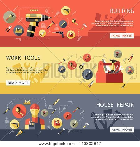 Three horizontal work tools banner set with building work tools and house repair descriptions vector illustration