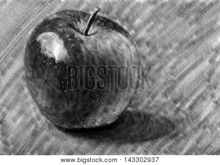 Apple digital drawing painting charcoal pencil sketch