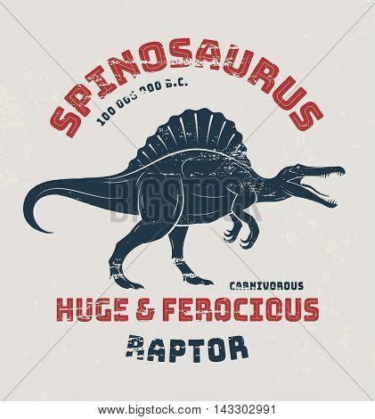 Spinosaurus T-shirt Design, Print, Typography. Vector Illustration.