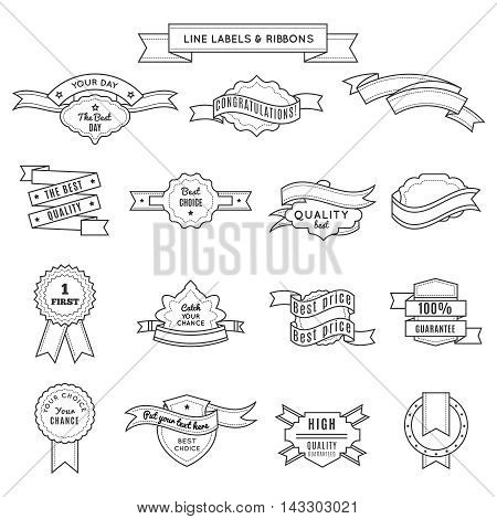 Design label set and ribbons in linear style for championship winner and the best quality and guarantee descriptions vector illustration