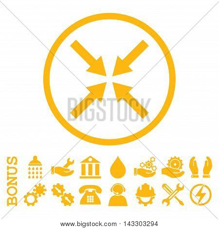 Center Arrows glyph icon. Image style is a flat pictogram symbol inside a circle, yellow color, white background. Bonus images are included.