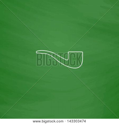 Tobacco pipe Outline vector icon. Imitation draw with white chalk on green chalkboard. Flat Pictogram and School board background. Illustration symbol