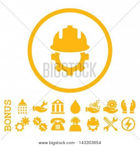 Development Helmet glyph icon. Image style is a flat pictogram symbol inside a circle, yellow color, white background. Bonus images are included.