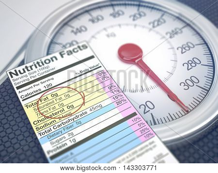 3D illustration. Weight scale with nutrition facts. Depth of field with focus on fat information.